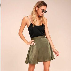 Lulu's Sensational Olive Green Satin Skater Skirt